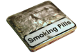 "small metal tin with ""smoking pills"" on the lid vintage retro distressed silver"