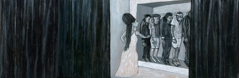 Black and white painting of a woman pausing in front of her open closet, in which several men are hanging in a row on clothes hangers strange bizarre whimsical beehive hairdo amy winehouse black curtains