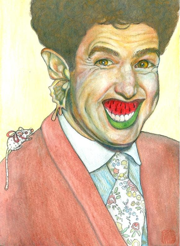 watercolour drawing of a smiling man with a butterfly ear and a watermelon slice mouth creepy bizarre colorful florid necktie floral brown suit afro curly hair shimmering rainbow windup toy mouse polka dots orange eyes glowing surreal evil creepy strange bizarre