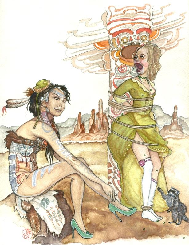 watercolour drawing of a screaming girl in a green dress bound to a totem pole, and a Native American girl sitting on a rock trying on her green high heels tattoos white blue skin hide animal feather beads decoration pet raccoon pawing scared screaming desert landscape plateau pearls terrified bizarre strange whimsical