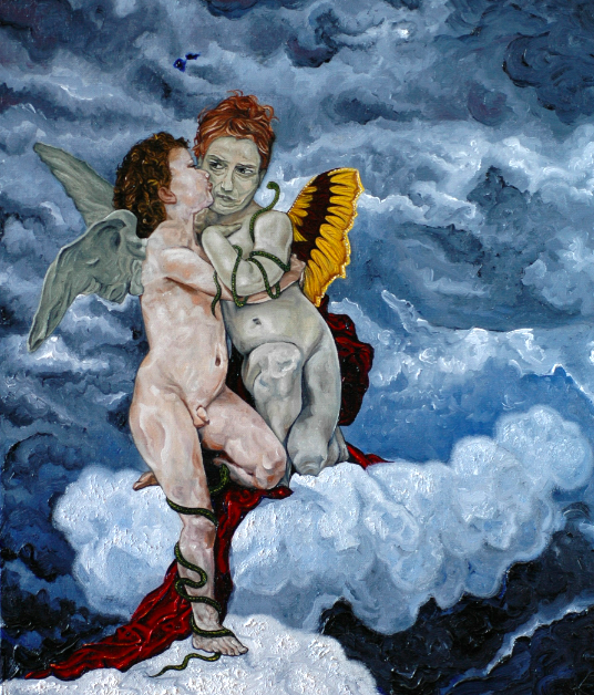 oil painting cupids classic wings clouds red drapery cloth snakes green butterfly wings yellow suspicious frown strange bizarre weird twist parody cherubs putti
