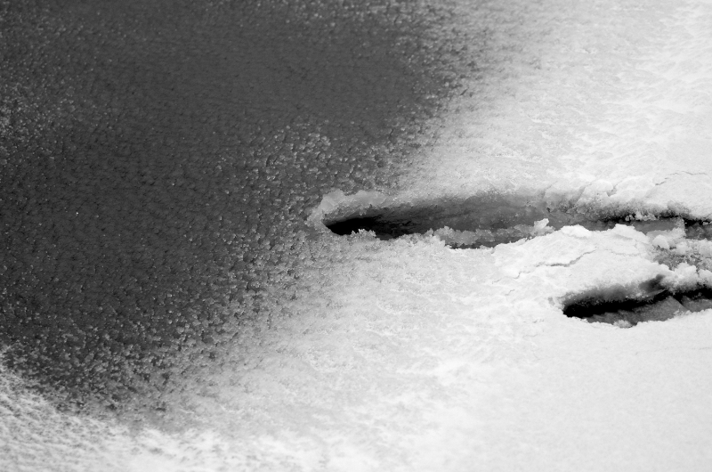 black and white digital photography winter snow slush ice puddle texture footprint slide