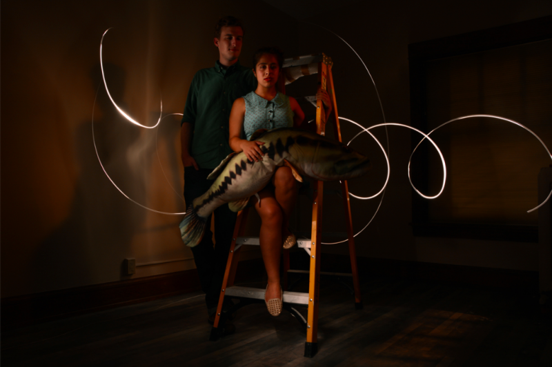 light portrait photography long exposure chiaroscuro dark shadow contrast light swirl glow streak strange bizarre surreal ladder yellow young man woman blond brunette petite blue dress retro couple standing sitting perching giant fish salmon stuffed animal toy pose lipstick red