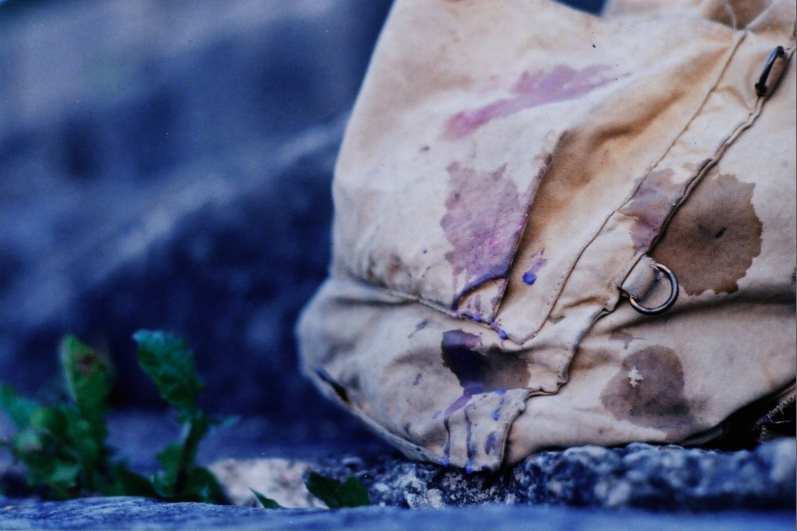 film photograph stone rock old canvas bag burlap stain colorful paint purple brown plant boke blur soft