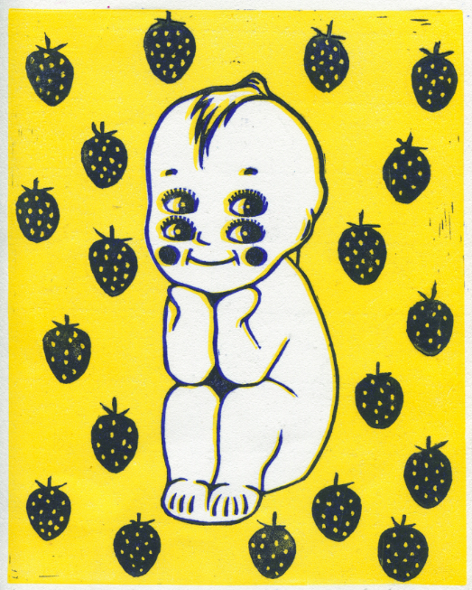 linoleum reduction print relief vintage retro pop art style yellow blue strawberries kewpie doll sitting four eyes surreal creepy cute smiling baby