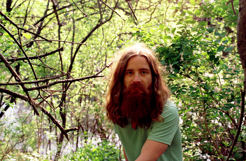young man long hair red flowing beard hippie forest branches leaves nature