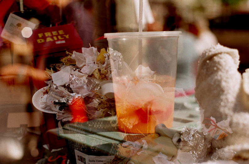 double multiple exposure lomography trash empty cup ice plastic