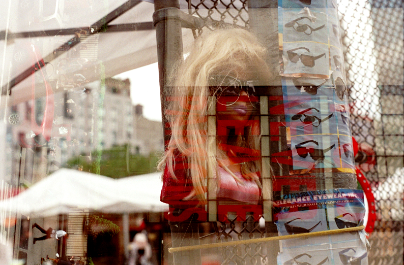 double multiple exposure lomography sunglasses street market mannequin