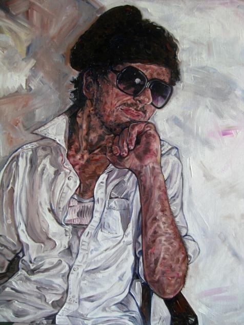 oil portrait young man sunglasses beret white button down shirt