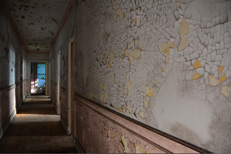abandoned hallway corridor peeling paint texture flaking