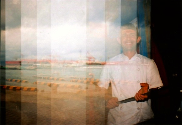 dondurma turkish ice cream seller dockside lomography film photograph multiple exposure