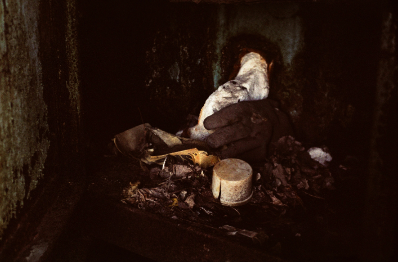 film photograph rubbish gloves dirt garbage pile dark