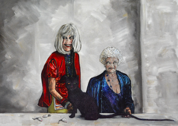oil painting grey background texture two old women gray hair red blue purple cat surreal creepy white mouse furry toys