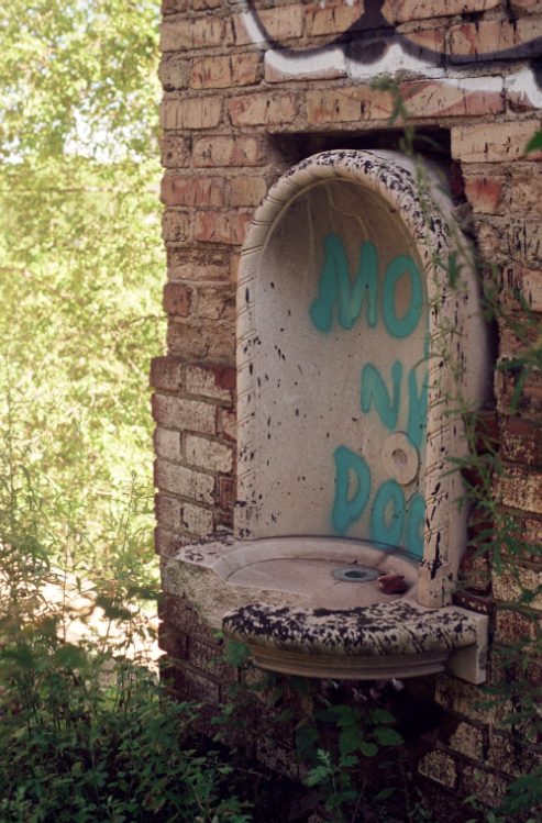 film photograph abandoned drinking fountain graffiti