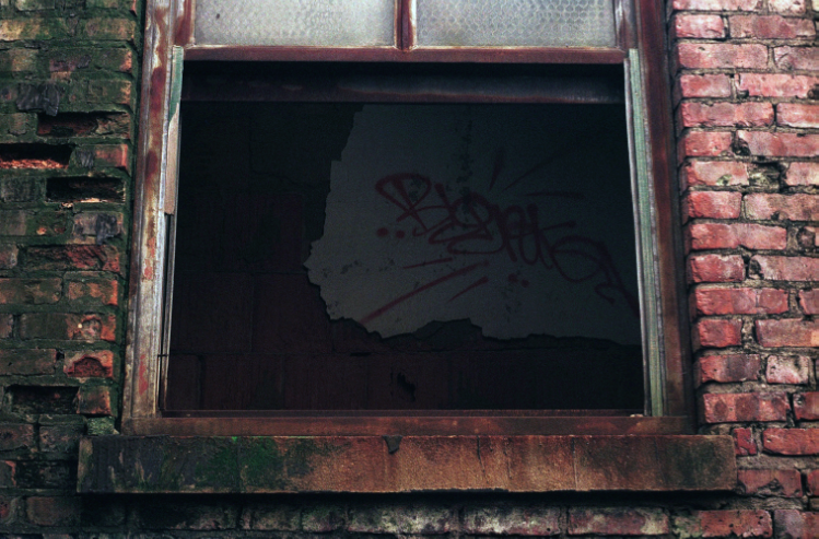 film photograph abandoned graffiti window