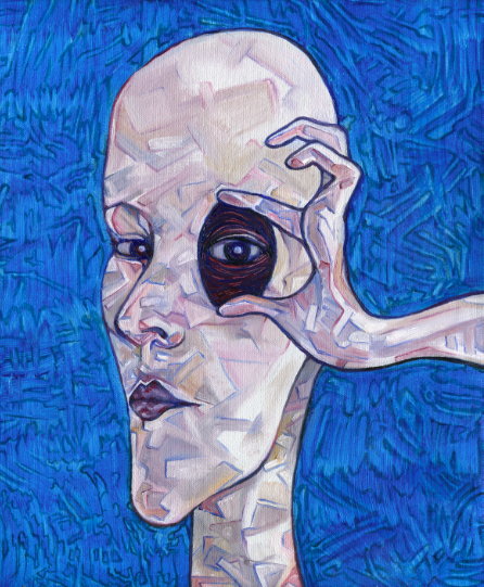 texture blue background oil painting acrylic surreal cubist skin bald woman holding eyelid eye open