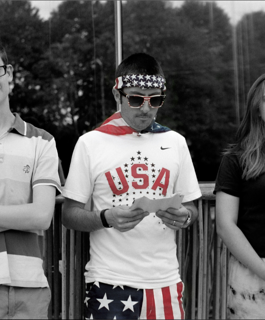 black and white color highlight portrait young man usa shirt shorts sunglasses bandana