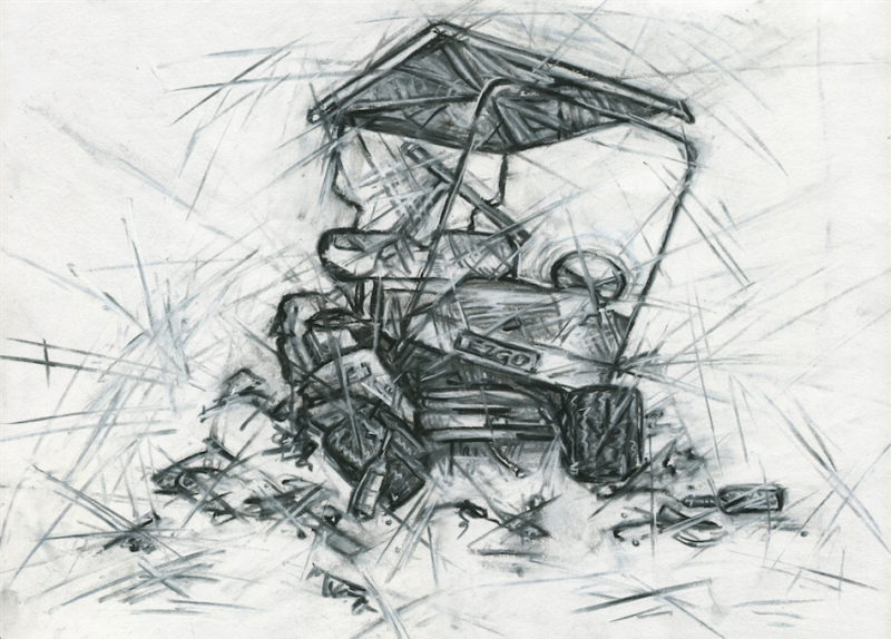 charcoal chalk drawing illustration golf cart crash wreck smash accident broken debris texture sharp rough