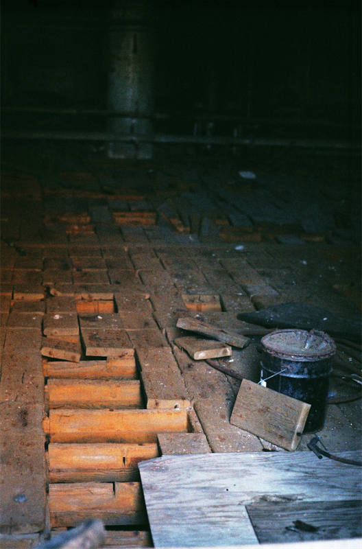 abandoned building film photograph crawl space roof bricks