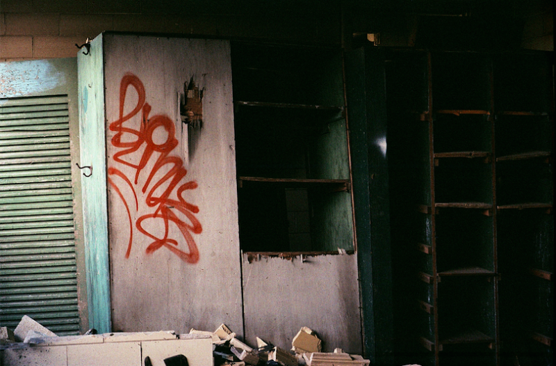 abandoned building film photograph graffiti office cubbies