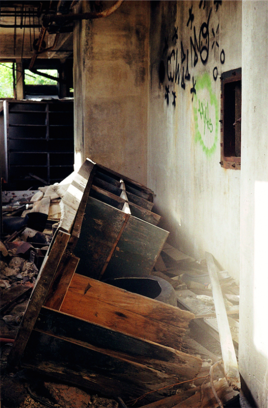 abandoned building film photograph debris office graffiti desk