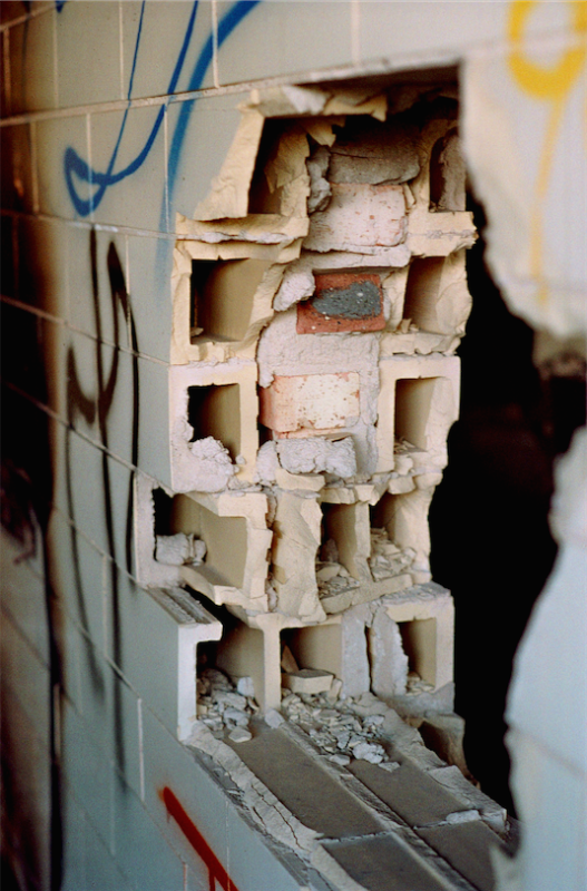 abandoned building film photograph  broken wall brick hollow cross section graffiti