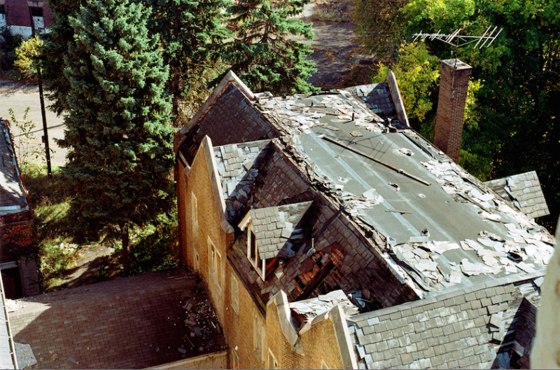 abandoned building film photograph church urbex roof collapsing tiles