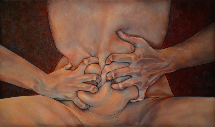 oil painting figure realism stomach gripping clenching twisting hands nude