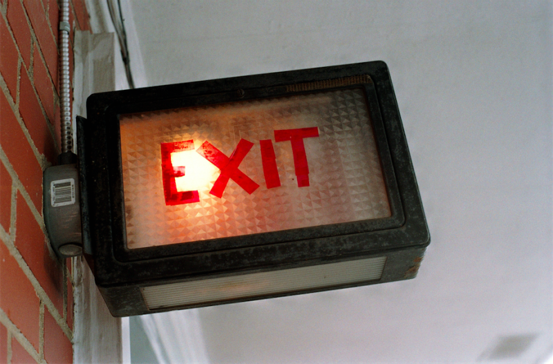 film photograph exit sign emergency tape ghetto