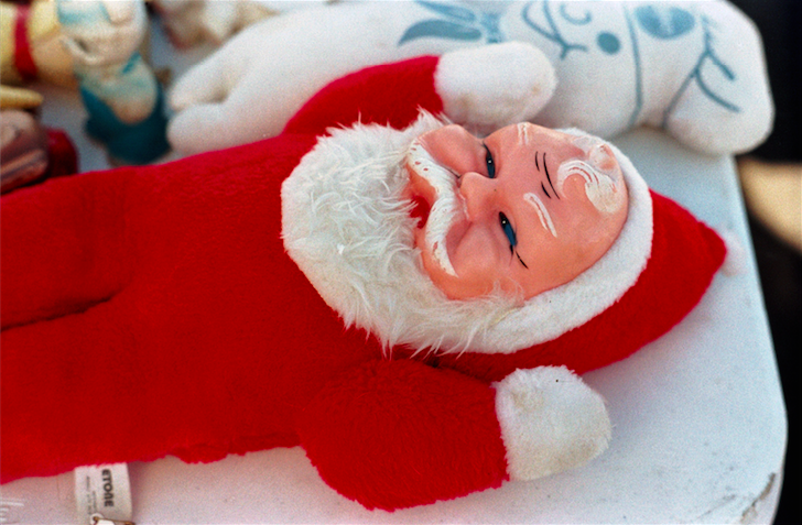film photograph santa doll retro vintage creepy smile