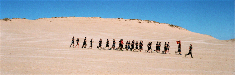 film photograph beach dunes sand running training jogging marine corps flag