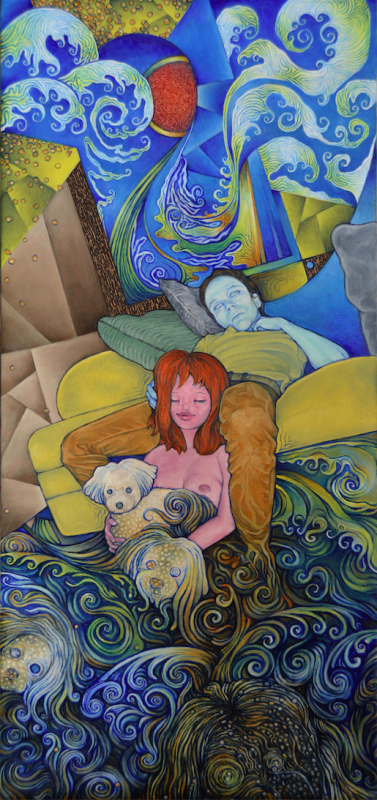 oil painting portrait surrealism trippy psychedelic patterns clouds spirals japanese sun prism young man sitting couch girl cute little dog white
