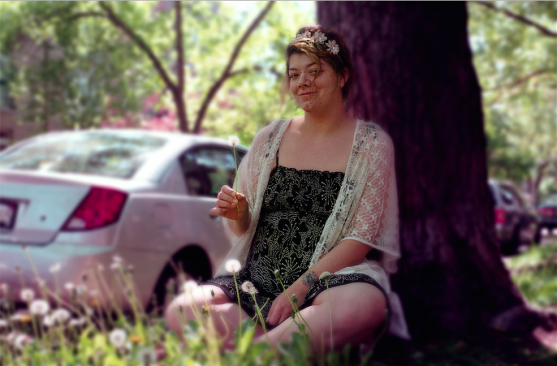 film photograph portrait young woman bokeh dreamy sitting tree dandelion flower crown