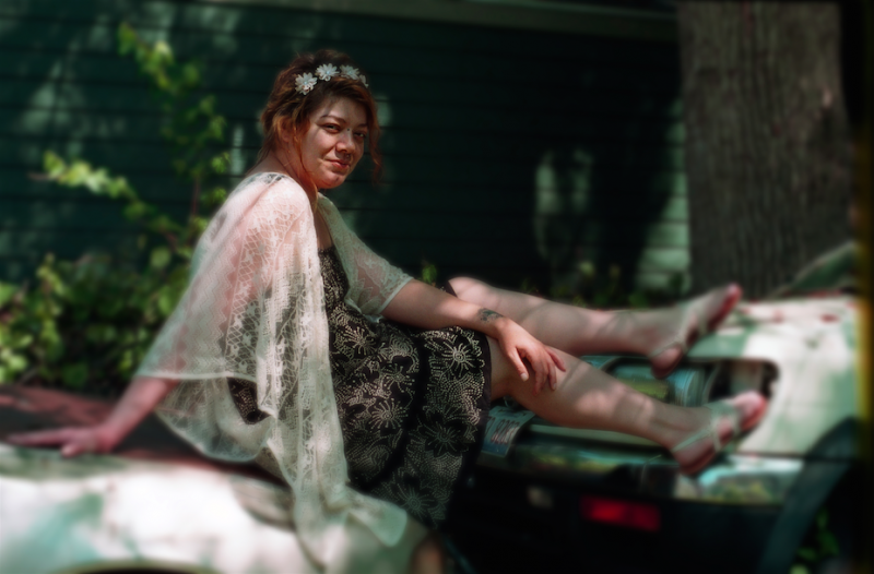 film photograph portrait young woman bokeh dreamy vintage old car pose lace flower crown