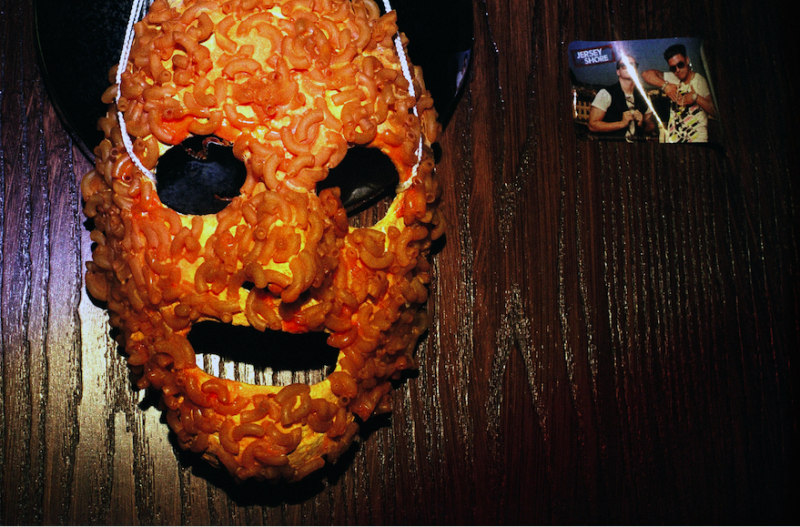 film photograph creepy mask wall hanging macaroni pasta