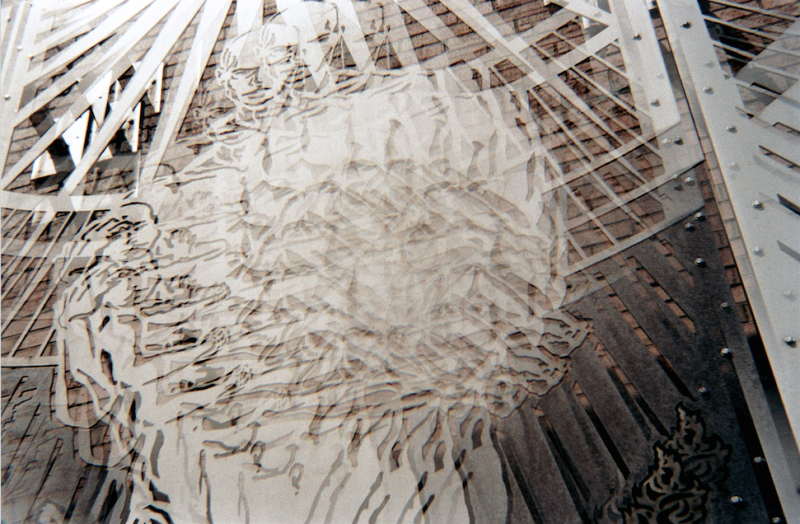 film photograph prism lens trippy sculpture spiral black white carved