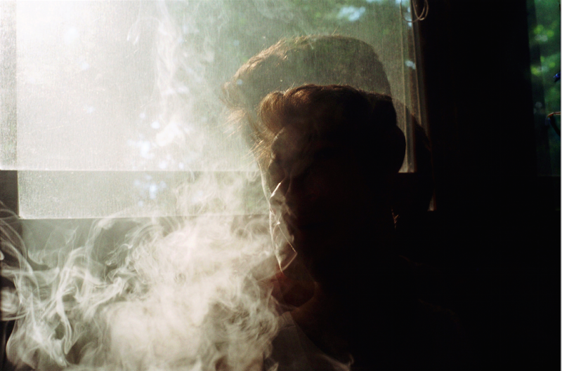 film photograph portrait smoke vape double multiple exposure blur chiaroscuro