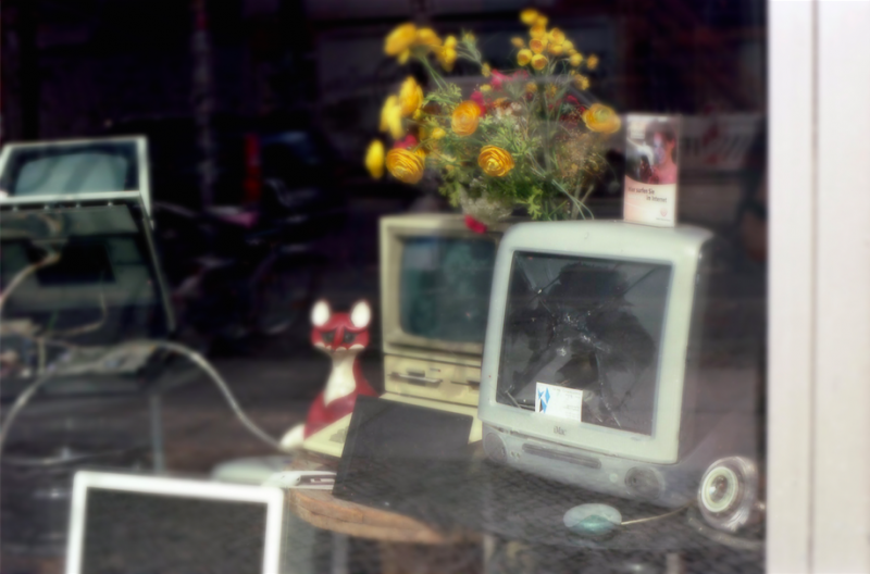 film photography shop window bokeh computers imac old retro fox flowers