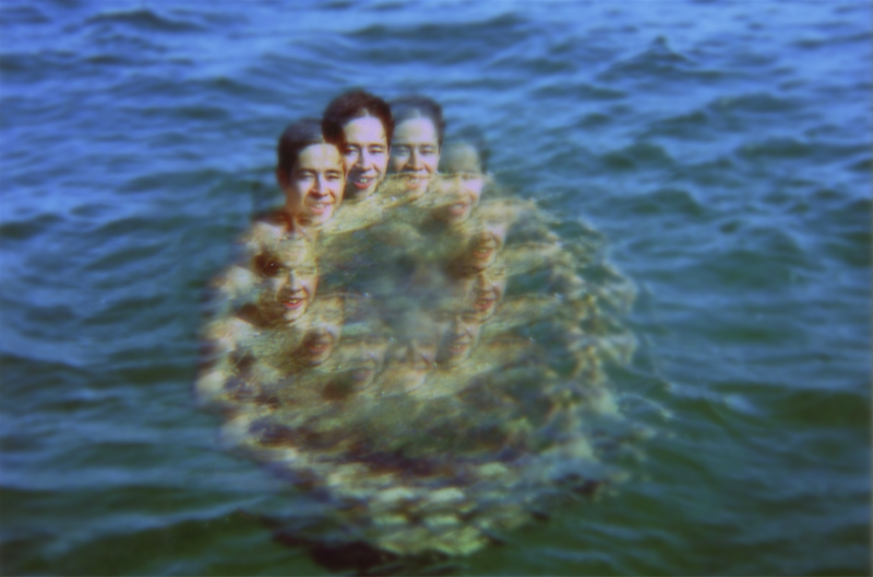 film photography bokeh focus portrait young man prism lens circle trippy swimming