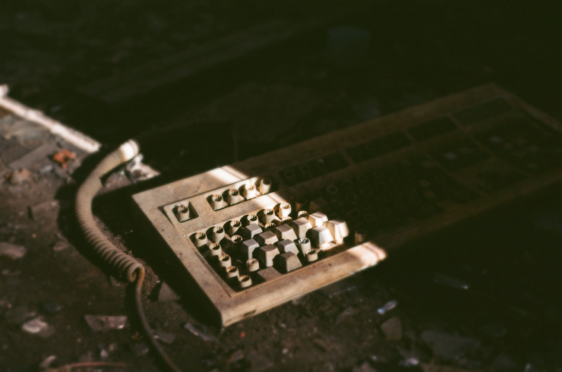 film photography urbex abandoned ruinporn crumbling debris king's park asylum keyboard trash