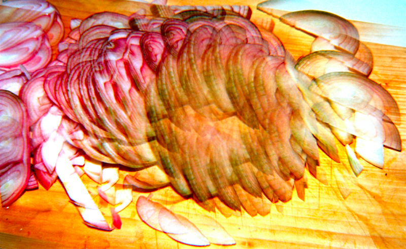 film photography prism lens fractal psychedelic trippy sliced onions cutting board vivid colors