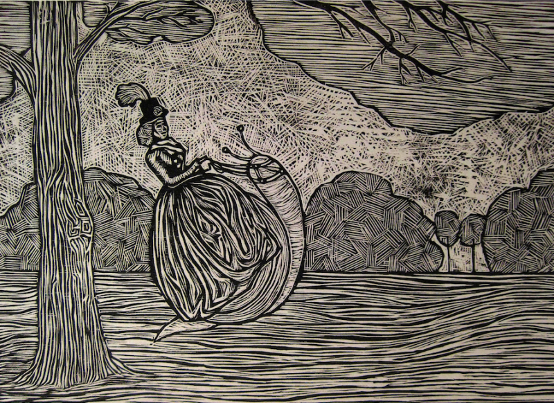 woodcut reduction print printmaking black and white portrait surrealism surrealist lady riding giant snail trees park lawn parody