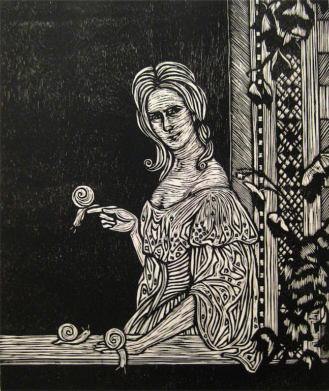 woodcut reduction print printmaking black and white portrait surrealism surrealist lady window snails garden mona lisa smile