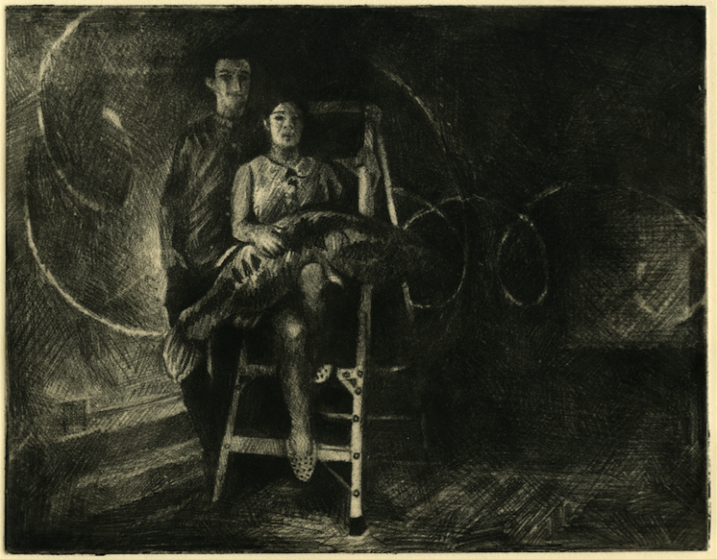 intaglio print etching soft ground tenebrism chiaroscuro portrait surrealism couple man woman stepladder light portrait giant fish stuffed animal weird