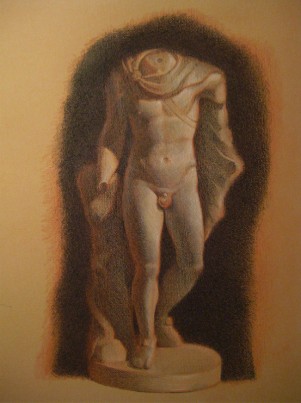 cast drawing warm cool red toned paper statue