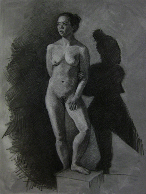 reductive technique charcoal figure drawing nude woman shadow distortion hachure