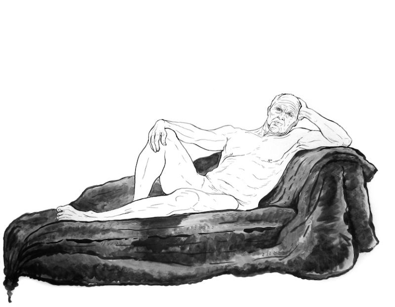 figure drawing nude male man reclining fur divan chaise lounge