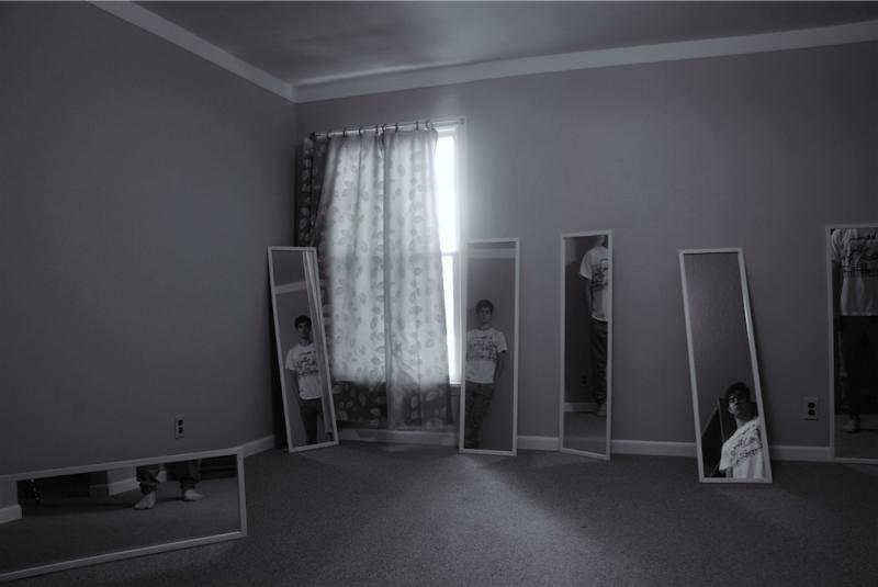 digital photograph portrait room young man standing mirrors illusion surrealism trick trompe l'oeil hapa