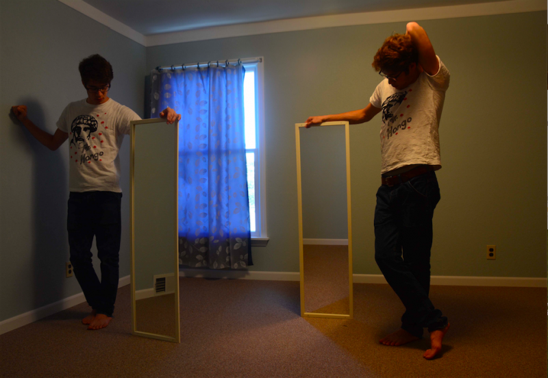 digital photograph portrait room young man standing mirror window curtain double surrealism hapa
