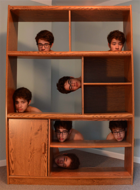 digital photograph portrait room young man cabinet shelves illusion surrealism trompe l'oeil severed heads hapa glasses